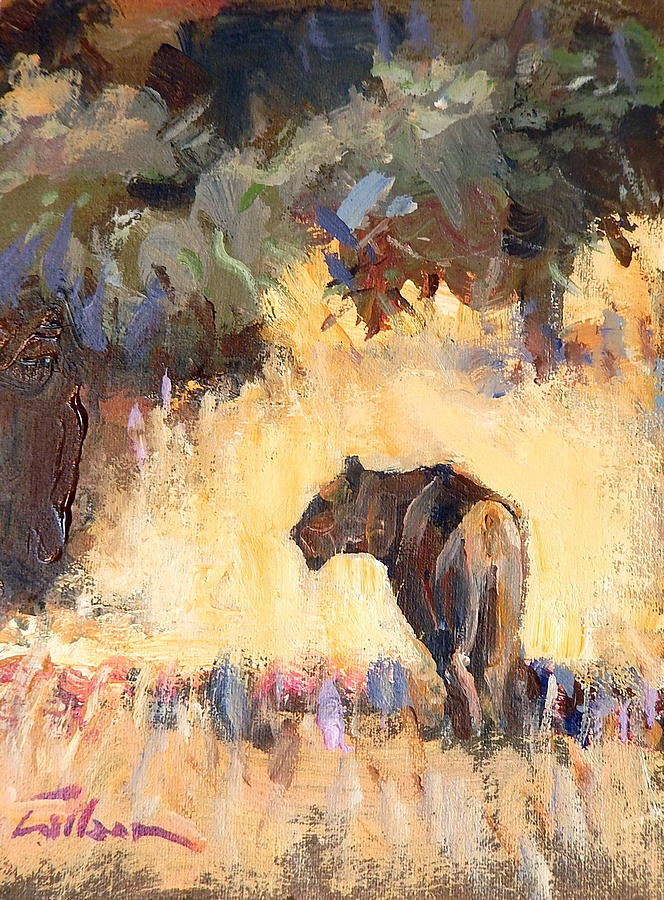 Lioness Painting - Lioness Stalking by Ron Wilson