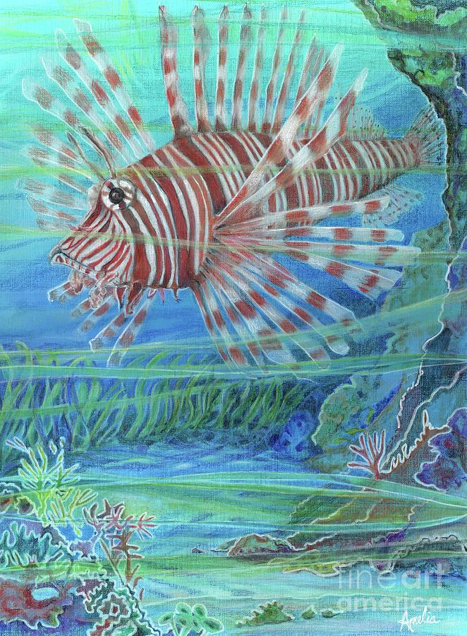 Ocean Painting - Lionfish Blues by Amelia at Ameliaworks