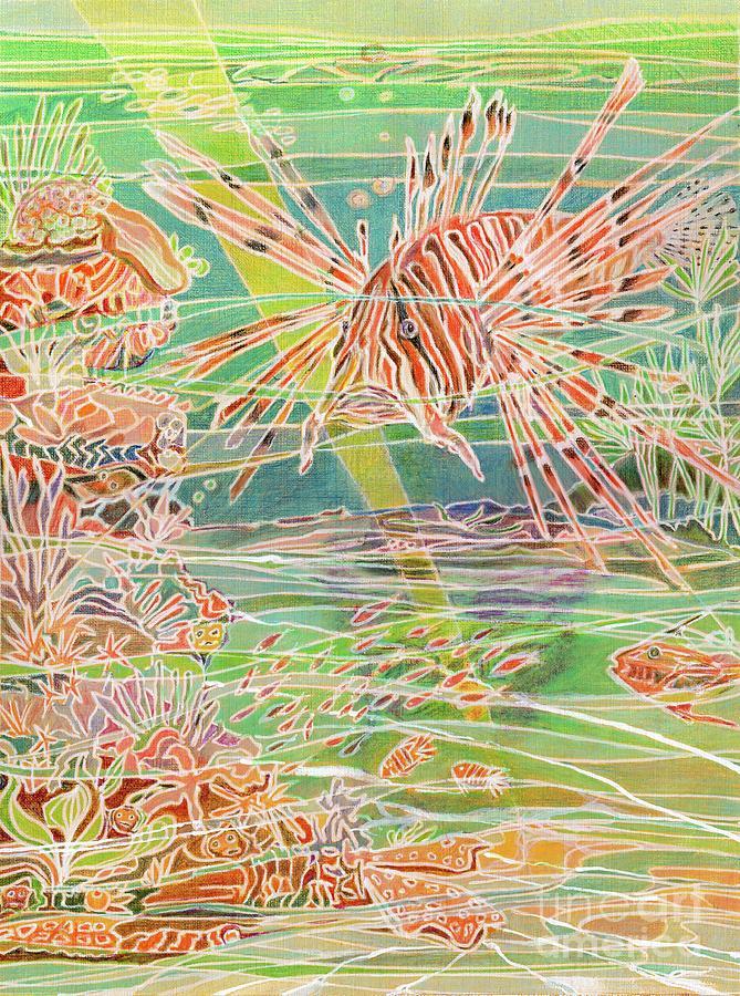 Ocean Painting - Lionfish Grump by Amelia at Ameliaworks