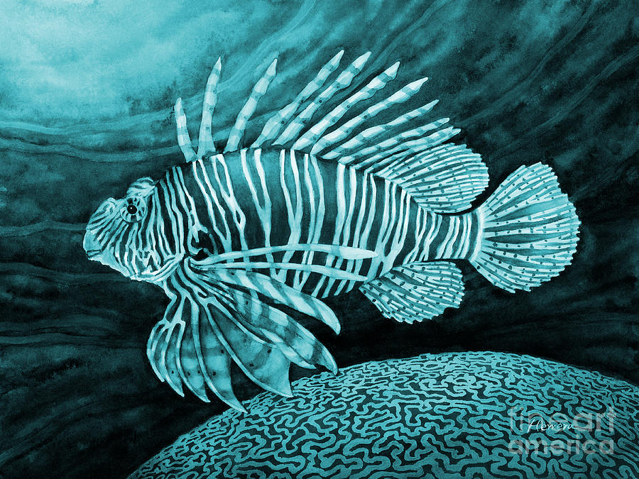 Lionfish Painting - Lionfish On Blue by Hailey E Herrera