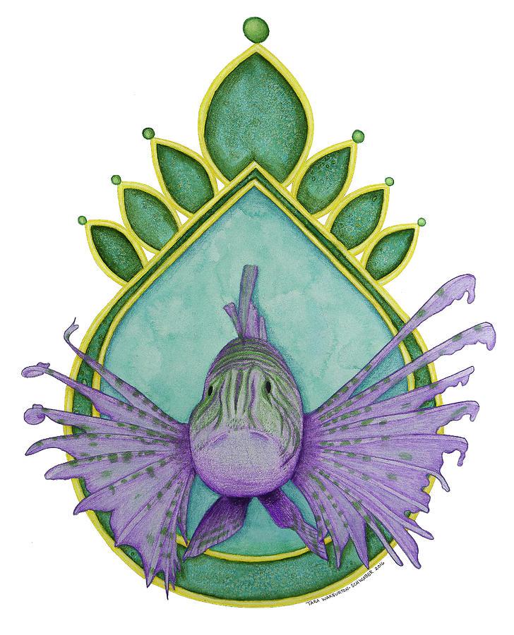 Lionfish Drawing - Lionfish by Tara Warburton-Schwaber