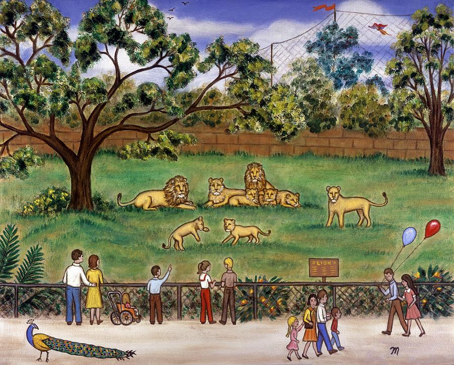 Lions at the Zoo Painting by Linda Mears