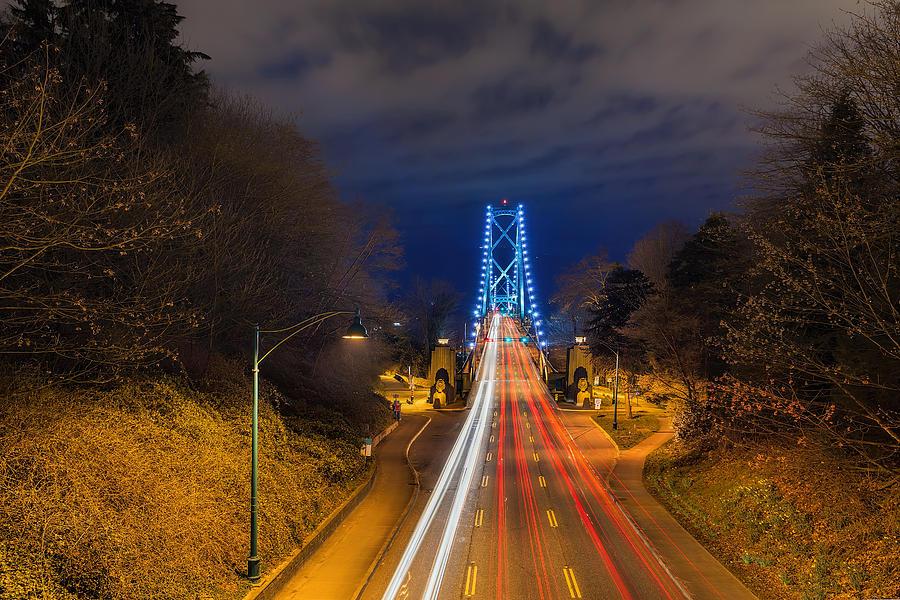 Lions Gate Bridge Photograph - Lions Gate Bridge Light Trails by David Gn