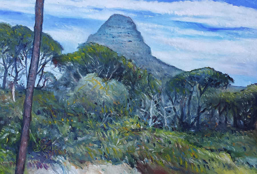 Impressionism Painting - Lions Head Cape Town South Africa 2016 by Enver Larney