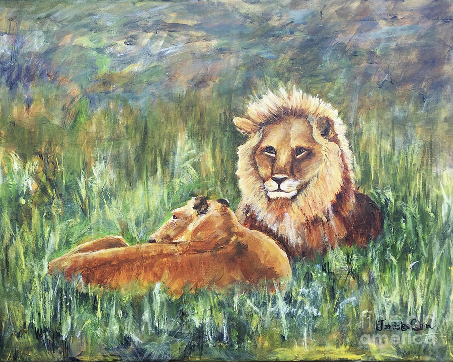 Lions Painting - Lions Resting by Janis Lee Colon