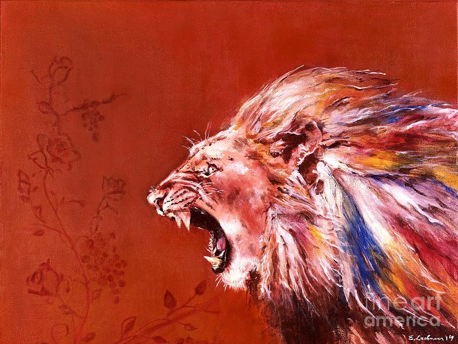 lion s roar painting by elizabeth lachmann