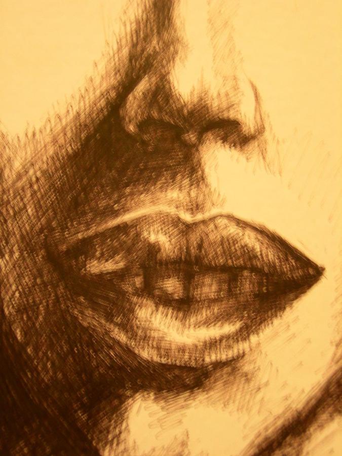 Lips Drawing - Lips by J Oriel