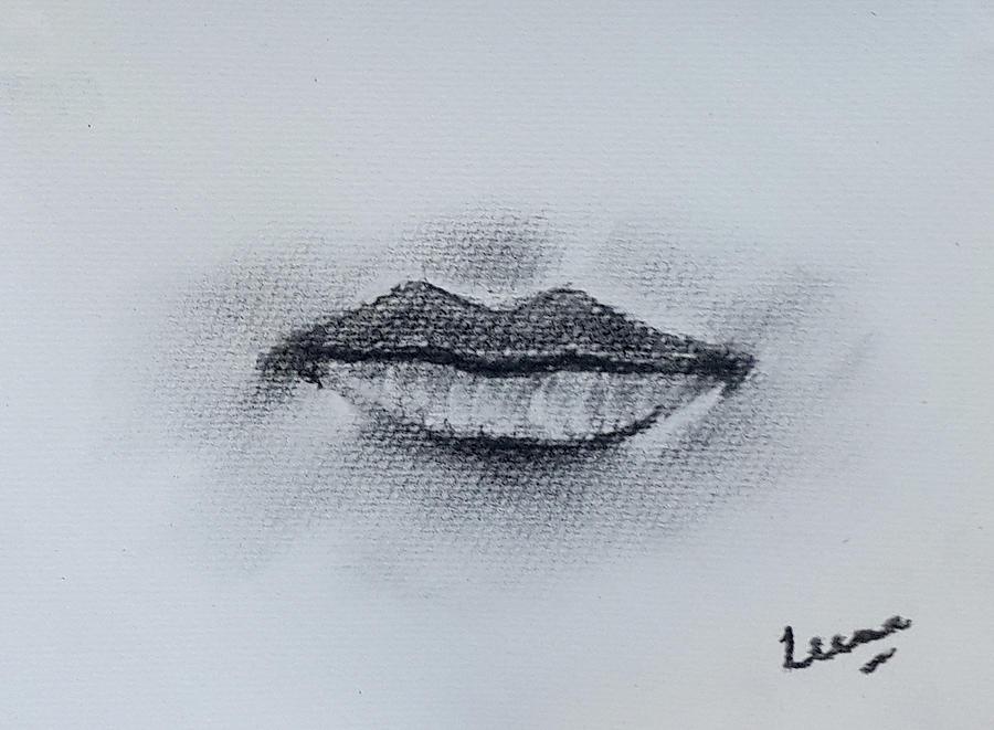Charcoal Painting - Lips by Leena Kewlani