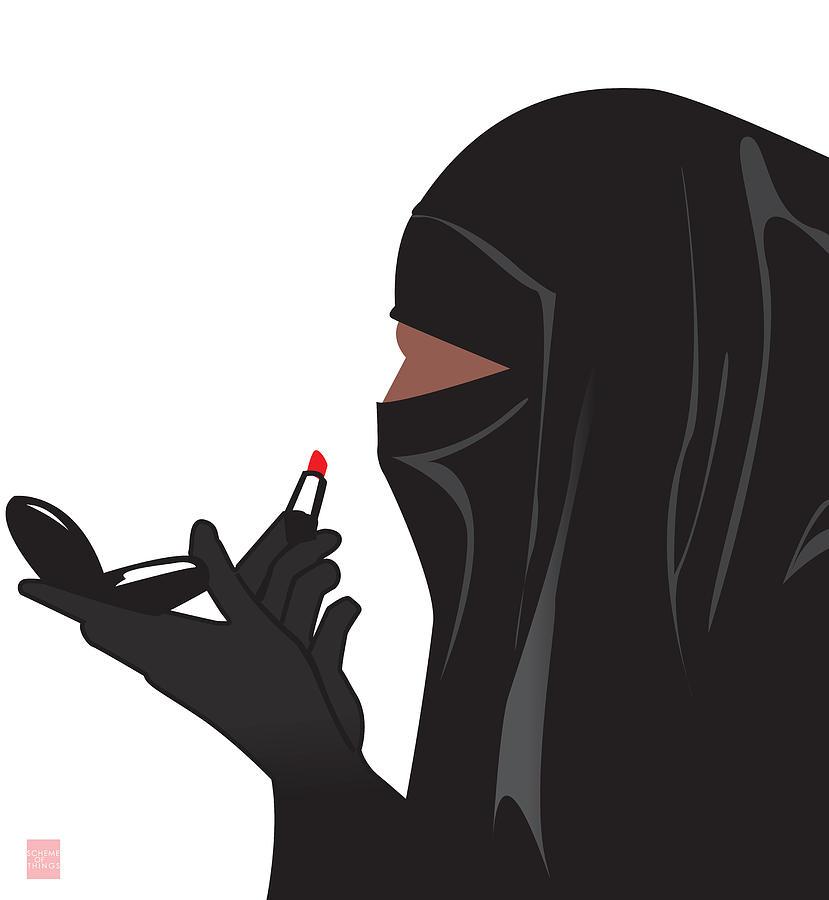 Lipstick Digital Art - Lipstick Niqabi by Scheme Of Things