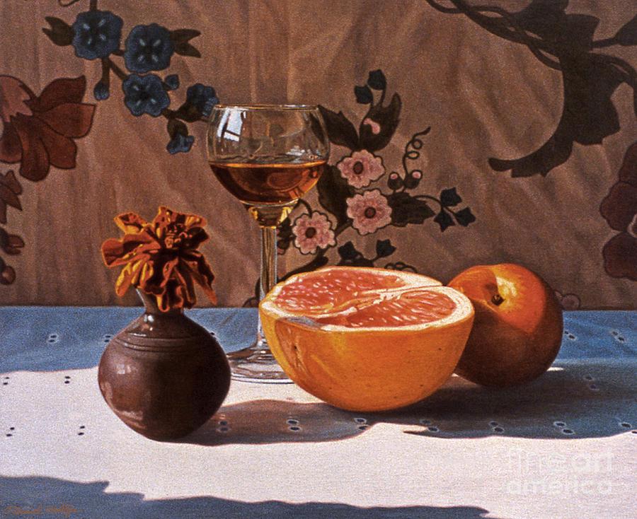 Art Painting - Liqueur Glass And Grapefruit by Daniel Montoya