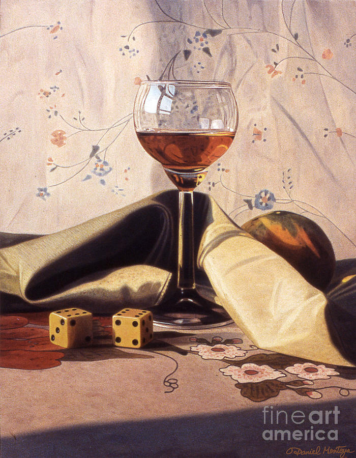 Painting Painting - Liqueur Glass And Orange by Daniel Montoya