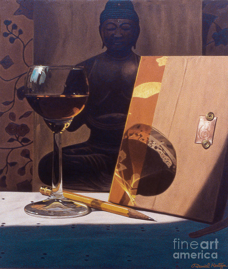 Painting Painting - Liqueur Glass And Pencil by Daniel Montoya