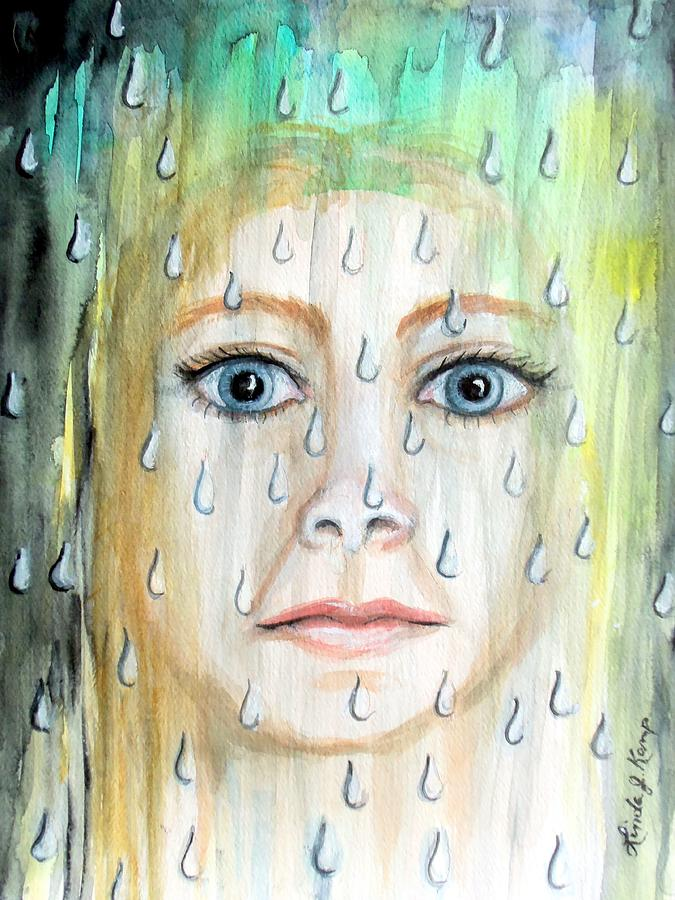Abstract Portrait Painting - Liquid Catharsis by Linda Nielsen