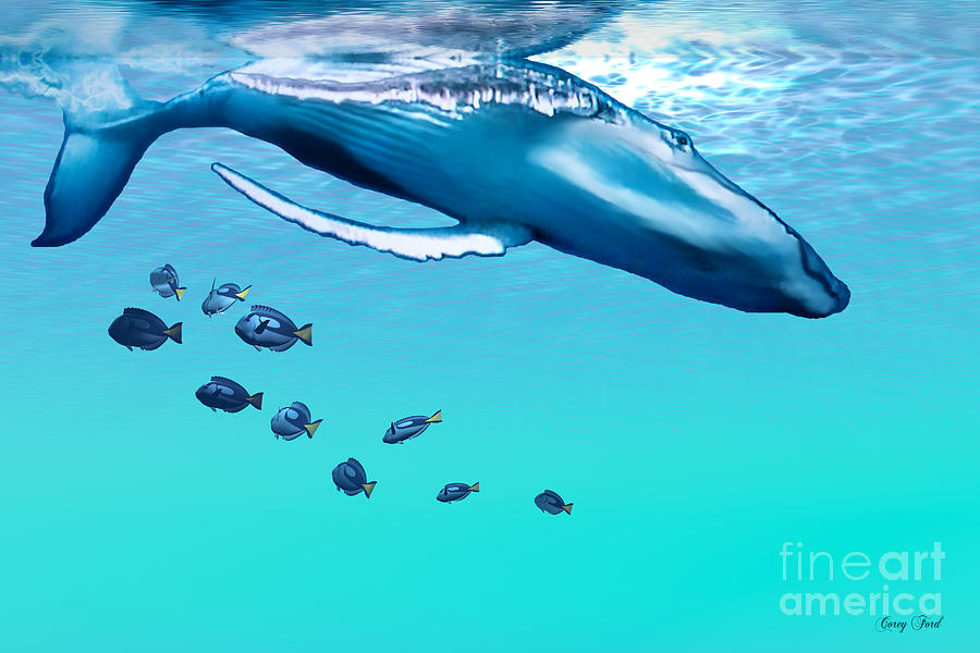 Humpback Whale Painting - Liquid Gems by Corey Ford