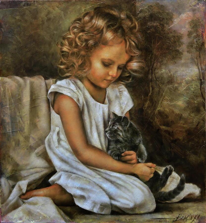Girl Painting - Lisa With A Cat by Arthur Braginsky