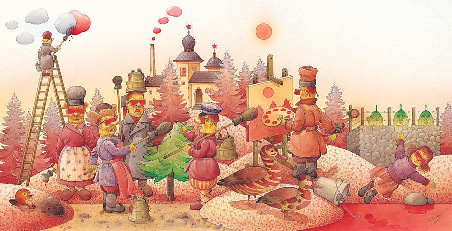 Red Russia Dream  Painting - Lisas Journey10 by Kestutis Kasparavicius