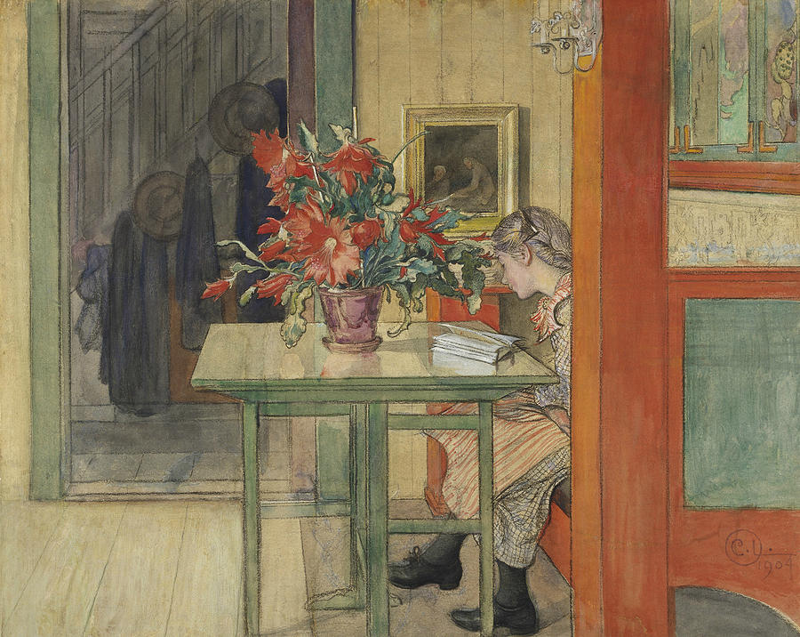 Swedish Painters Painting - Lisbeth Reading by Carl Larsson