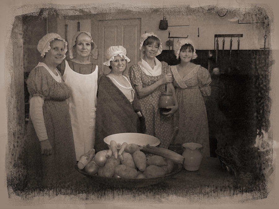 Hearth Cooking Photograph - Lisbon Ct Historical Society Ladies by Sue  Brehant