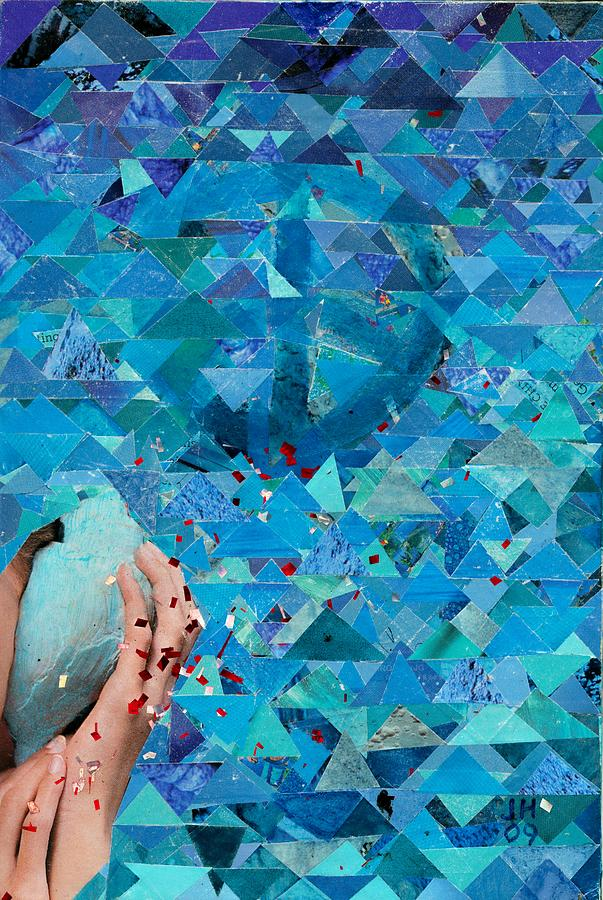 Blue Mixed Media Painting - Listen by Jerry Hanks