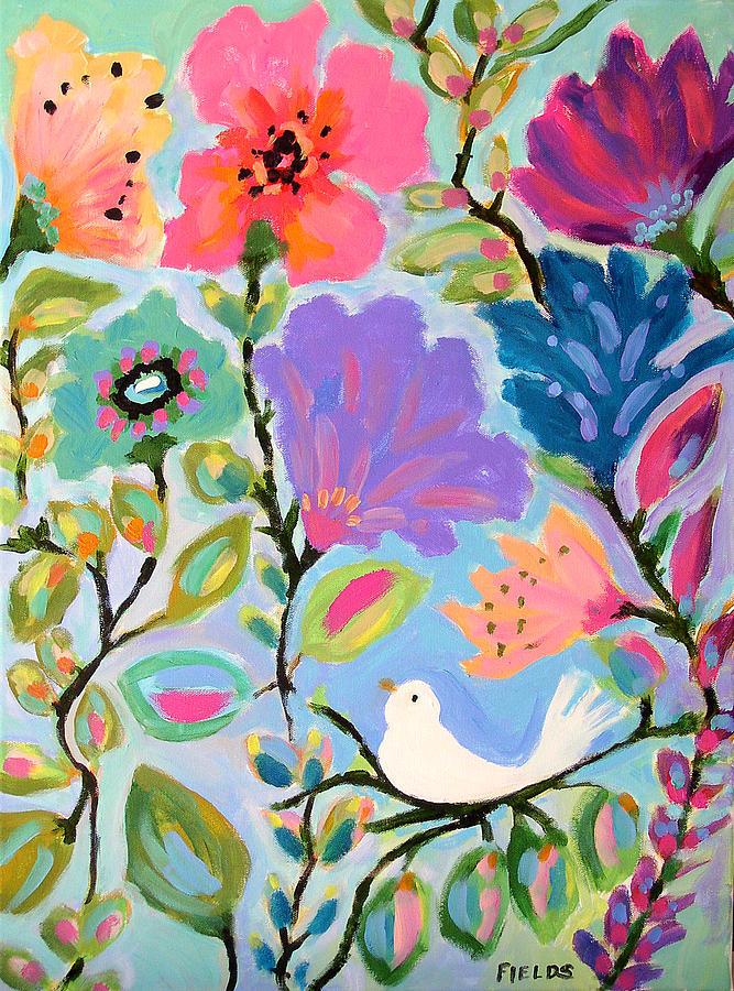 Bird Painting - Listening by Karen Fields