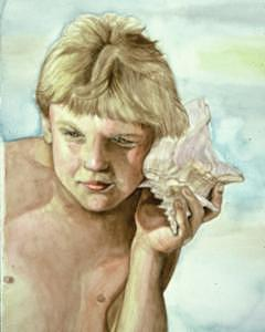 Boy Painting - Listening by Terri Kilpatrick