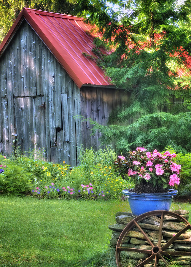 Countryside Photograph - The Country Cottage Garden  by T-S Photo Art