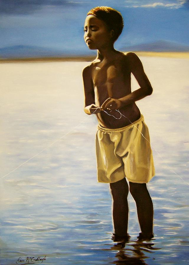 Little african boy fishing painting by sian mccullagh for Little boy fishing