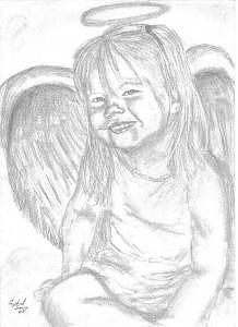 Child Portrait Drawing - Little Angel by Crystal Sons