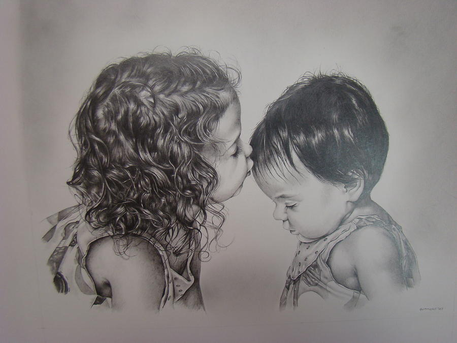 Children Drawing - Little Angels by Michael Lee Summers