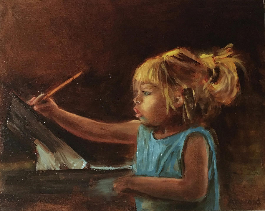 Child Painting - Little Artist by Lynne Atwood