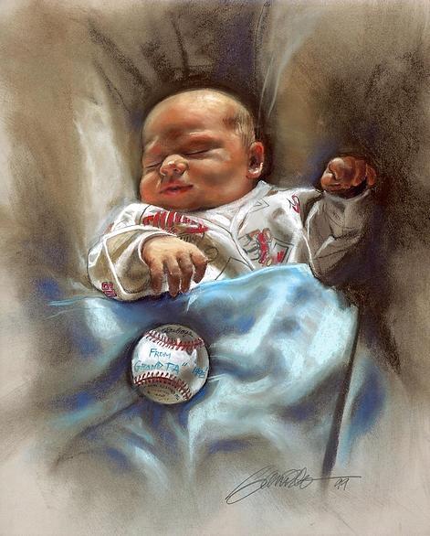 Little Baby Minnesota Twins Fan Painting by Mark Sanislo