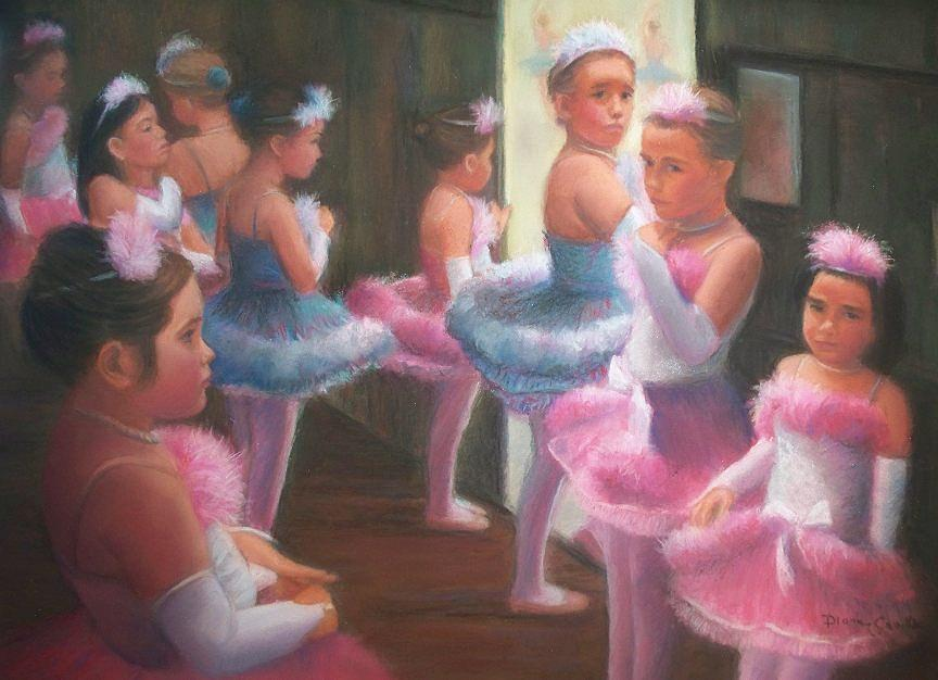 Ballet Pastel - Little Ballerinas Backstage At The Recital by Diane Caudle