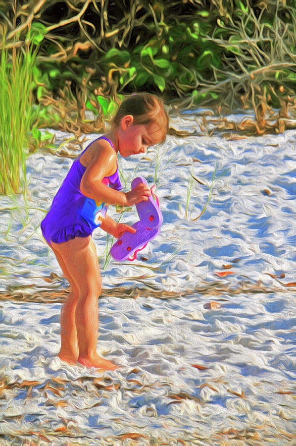 Little Beach Girl with Flip Flops by Ginger Wakem
