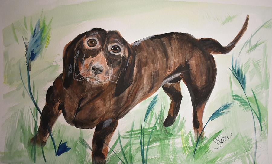 Dog Painting - Little Big Man by Susan Voidets