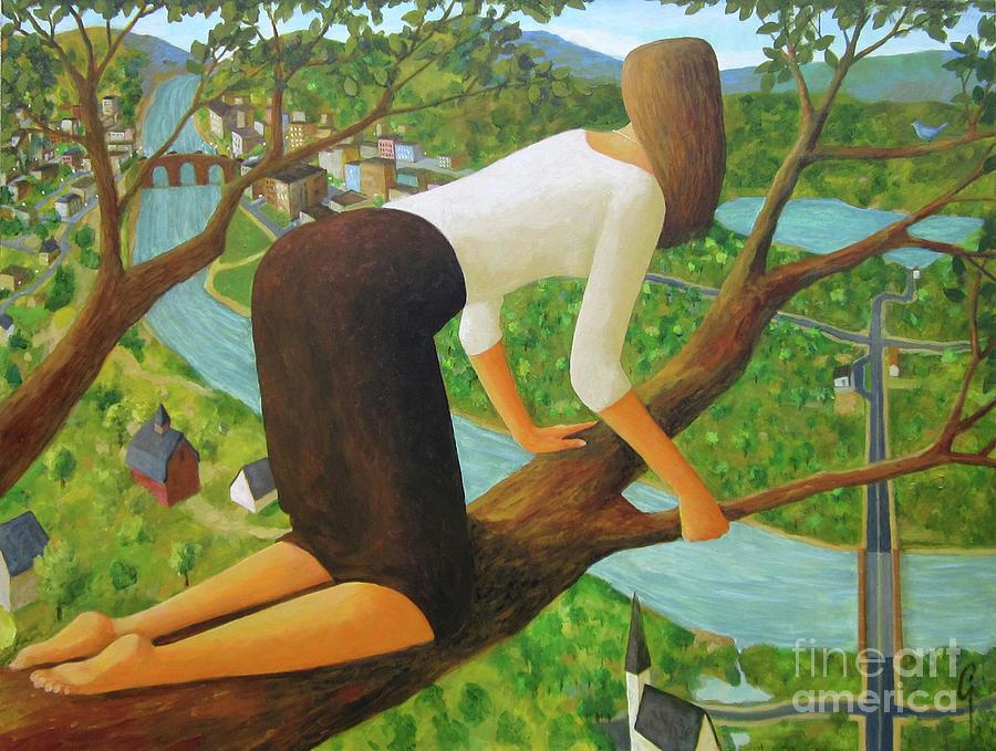 Tree Painting - Little Bird by Glenn Quist