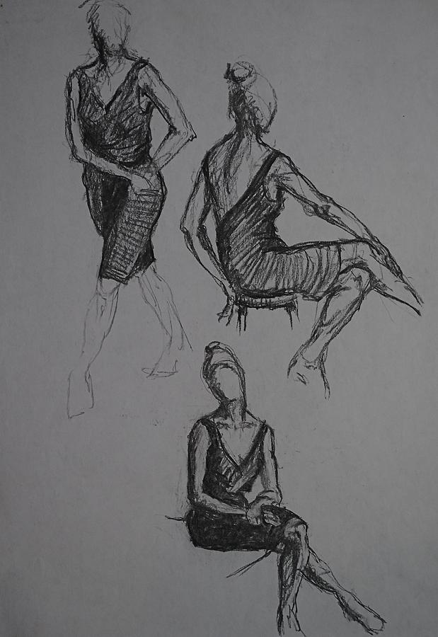 Nude Figure Drawings Female And Male Charcoal Drawings Male And Female Conte Drawings Female And Male Graphite Drawings Female Nude Drawings Male Nude Drawings Theme Drawings Drawings Drawings Drawing - Little Black Dress X Three by Chris  Riley