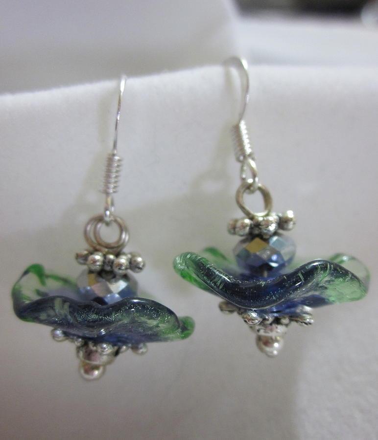 Handmade Lampwork Beads Jewelry - Little Blue Fairy Flower Earrings by Janet  Telander