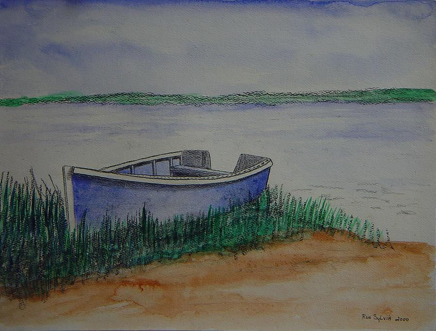 Water Mixed Media - Little Blue Skiff by Ron Sylvia