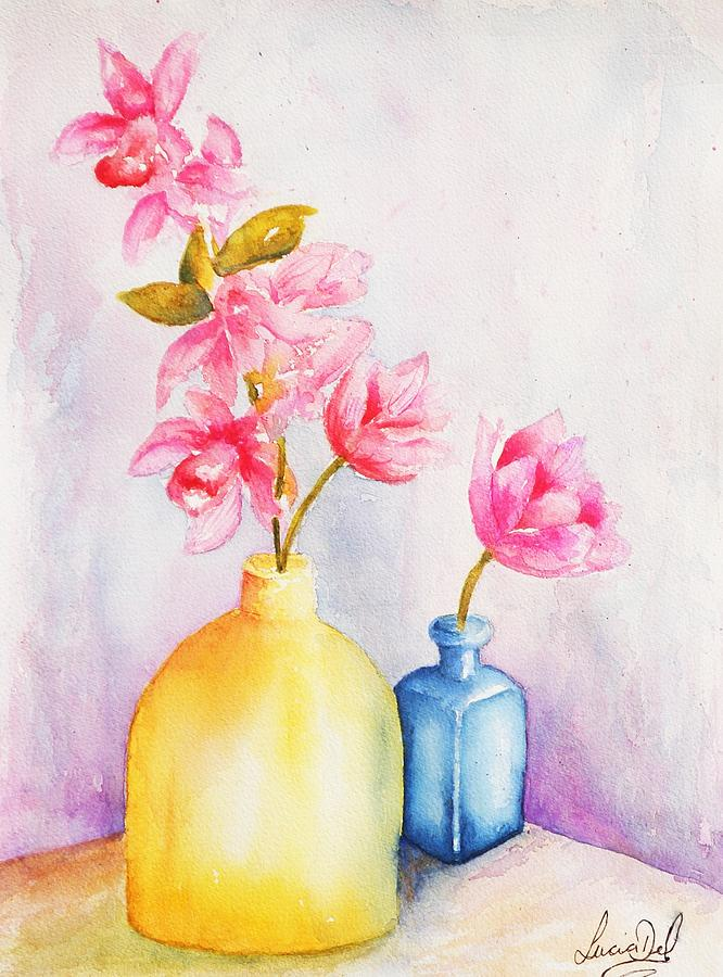 Watercolour Painting - Little Blue Vase by Lucia Del
