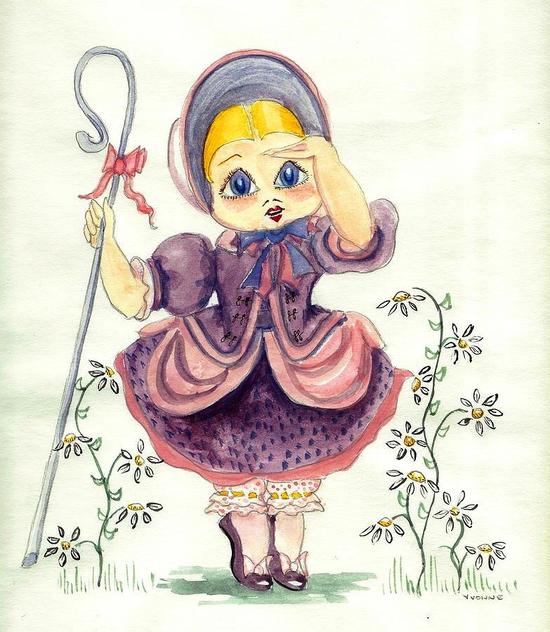 Nursery Rhyme Painting - Little Bo Peep by Yvonne Ayoub