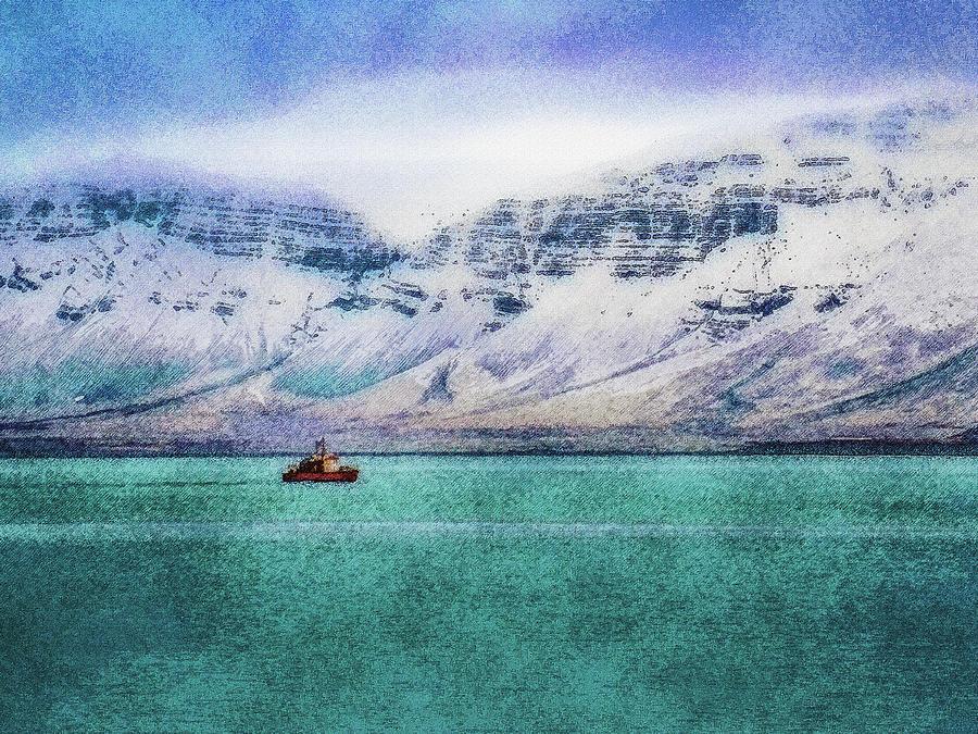 Iceland Digital Art - Little Boat In Reykjavik Bay by Frans Blok