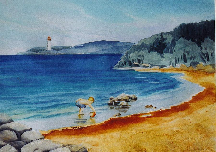 Lighthouse Painting - Little-boy-at-the-beach by Nancy Newman