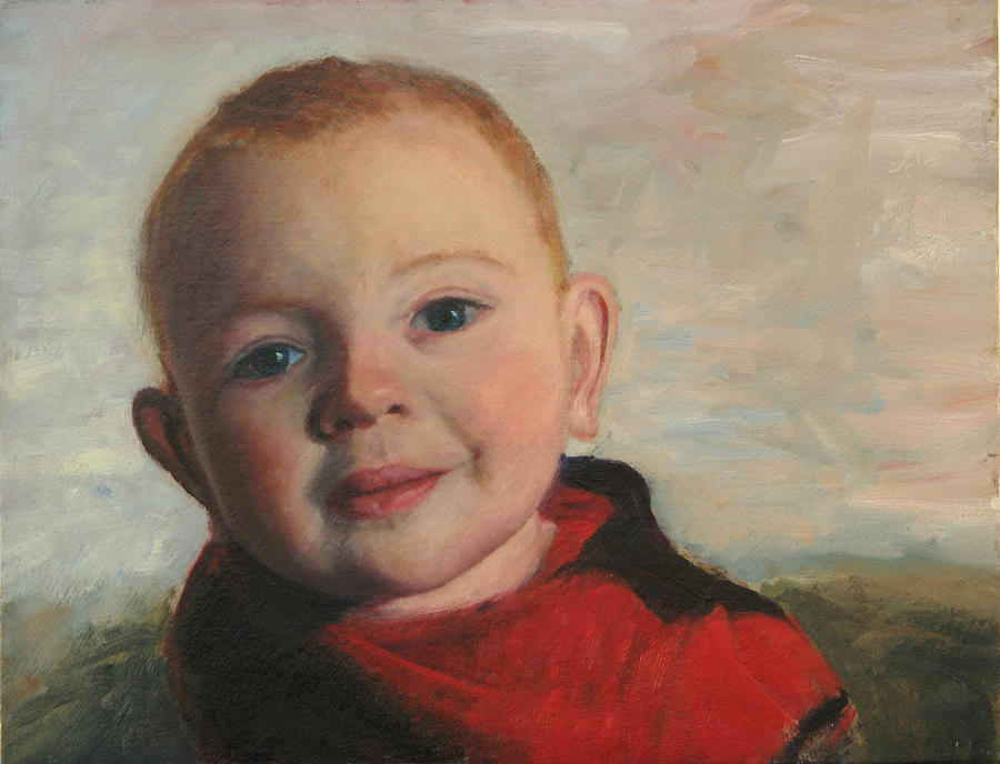 Portraits Painting - Little boy in red by Chris Neil Smith