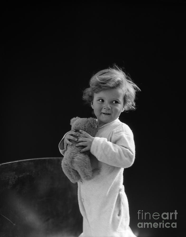 1930s Photograph - Little Boy With Teddy Bear, C.1930s by H. Armstrong Roberts/ClassicStock