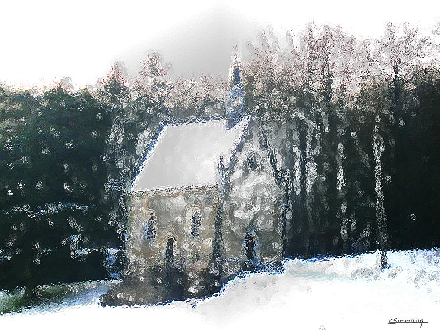 Snow Painting - Little chapelle under snow by Christian Simonian