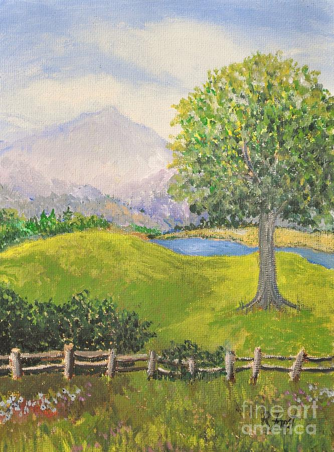 Country Painting - Little Country Scene Too by Reb Frost