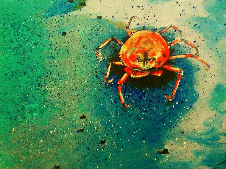 Crab Painting - Little Crab by Heather  Gillmer