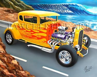 Little Deuce Coupe Painting by Randy Fawcett
