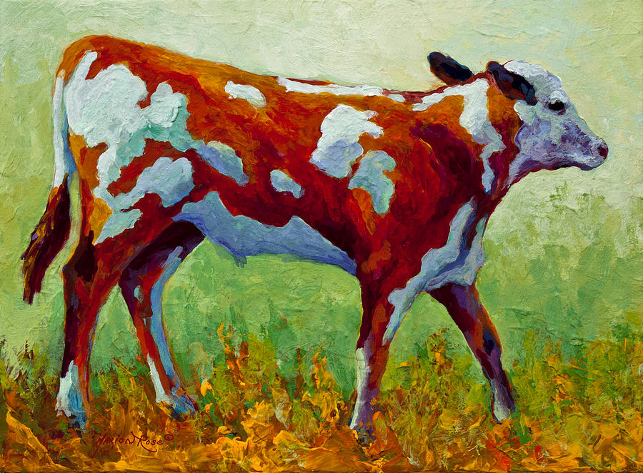 Calf Painting - Little Dickens by Marion Rose