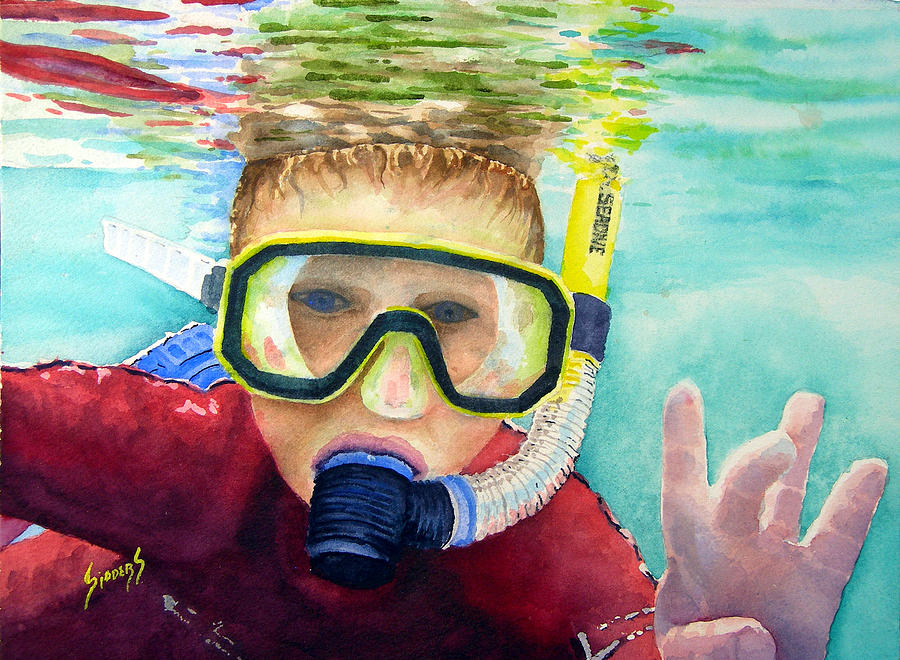 Diver Painting - Little Diver by Sam Sidders